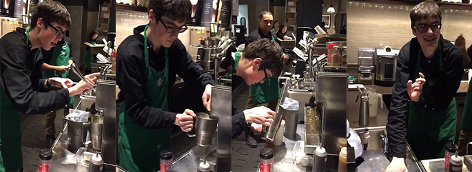 picture of Sam working in Starbucks