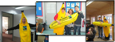St Piers College students supporting banana growers for Fairtrade fortnight